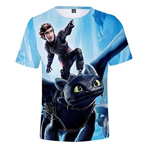 (Boys Girls Short Sleeve T-Shirt How to Train Your Dragon Kids Shirt 3D Printing Top (#5,8-9 T(Height:150CM)))