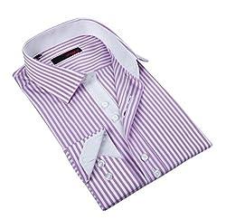 Ungaro Men's Pink and White Stripes Cotton Dress Shirt