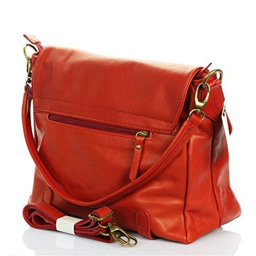 LONDON-Borsa pelle N1926 tracolla amovibile, colore: rosso