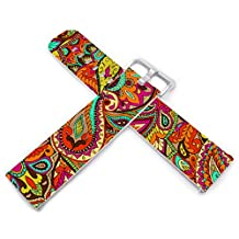 """Fitbit Blaze Bands ,23mm Genuine Leather Watch Band Replacement for Fitbit Blaze Small & Large (Wrist 6.1"""" to 8.45"""") Colorful Retro Leaves Design"""