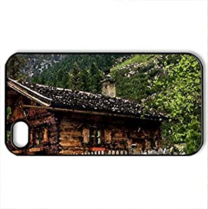 beautiful log cabin in the austrian alps - Case Cover for iPhone 4 and 4s (Houses Series, Watercolor style, Black) wangjiang maoyi