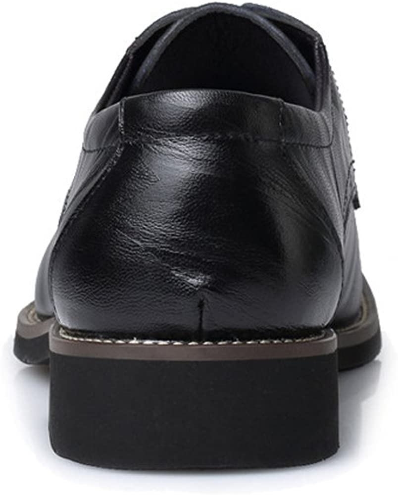 Mens Fashion PU Leather Lace Up Shoes Slouch Vamp Brogue Loafers Lined Tuxedo Oxfords Black Heel CHENDX Shoes