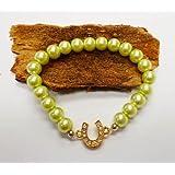 Glamour Pearl Horse Shoe Bracelet-PISTACHIO