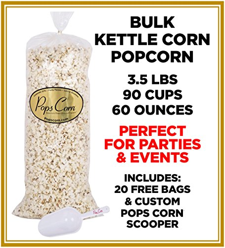 (Gourmet Kettle Corn Popcorn-BULK/WHOLSESALE-5 GAL.-90 cups-60oz-FREE)