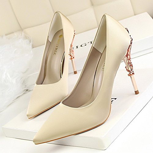 fino champán la boquilla Zapatos Damasco Heeled con boda Elegante 36 color de con la gráficos punta solo y zapatos luz de de de fina High metal OnASw