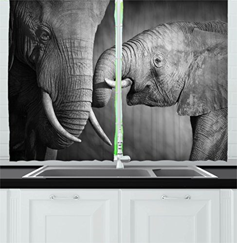Ambesonne Modern Decor Kitchen Curtains, Elephants Showing A