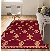 Well Woven Oasis Swirl Red Modern Abstract Geometric Spiral Circles Lines 2 x 7 (2 x 72 Runner) Area Rug Low Thin Pile Great Value Easy to Clean Stain & Fade Resistant