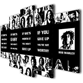 Amazoncom Susu Art 5 Pieces Bob Marley Quotes Canvas Giclee Print
