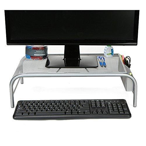 Mind Reader Meshm-Sil Monitor Stand Riser Silver [並行輸入品]   B07K9P9TG8