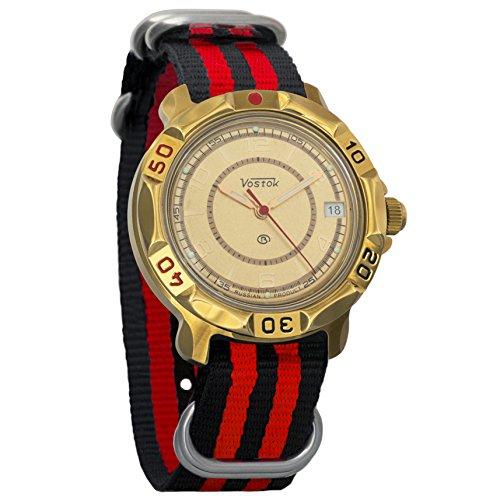 Vostok Komandirskie Classic Dial Mechanical Mens Military Commander Wrist Watch #819980 (black+red)