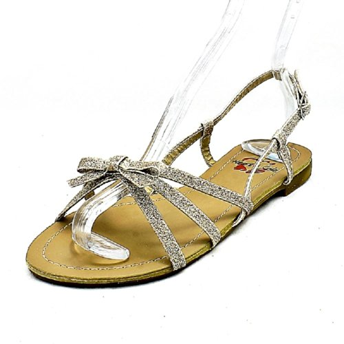 Flat Glitter Ladies Sling Sandals Gold SendIt4Me Back Strappy Covered qwFTSx7R