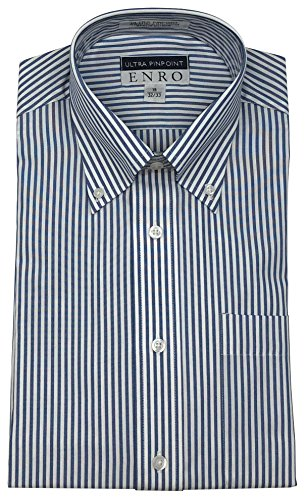 Enro Ultra Pinpoint Button Down Collar Bengal Stripe Dress Shirt (Blue Stripe, 16.5 32/33) ()
