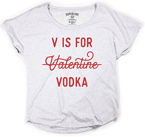 (Superluxe Clothing Womens V is for Vodka Anti Valentines Day Girls Funny Flowy Off The Shoulder Tri-Blend Dolman T-Shirt, Heather White, X-Small)