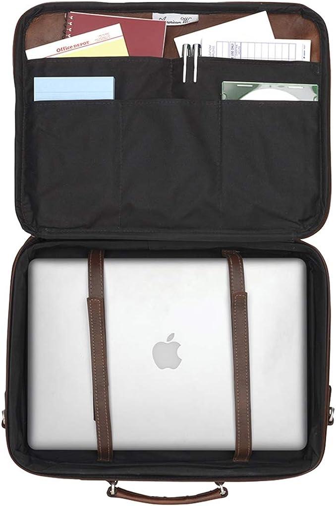 American West - Borsa a secchiello grande in pelle Charcoal Brown- Laptop Briefcase
