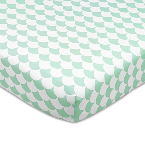 Collection Scallop - Lolli Living 100% Cotton Crib Fitted Sheet (Kayden Collection). Sea Glass Scallop Pattern Ultra-Soft Fitted Sheet for Standard Cribs