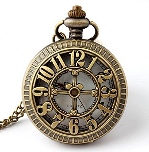 레트로 골동품 청동 해골 모양의 주머니 시계 31 인치 풀 라운드 포..