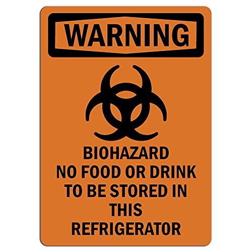 Warning Sign - Biohazard No Food Or Drink Bilingual |  Label Decal Sticker Retail Store Sign Sticks to Any Surface 8