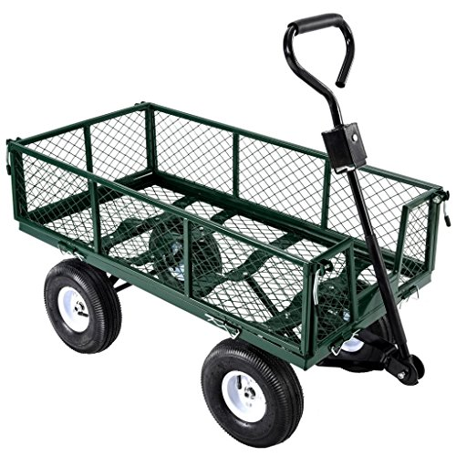 Superworthboutique Heavy Duty Steel Garden Cart Utility Wagon Dump With Removable Sides Lawn Trailer Yard 660Lbs Capacity Green by Superworthboutique