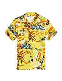 Young Adult Boy Hawaiian Aloha Luau Shirt in Yellow Map and Surfer