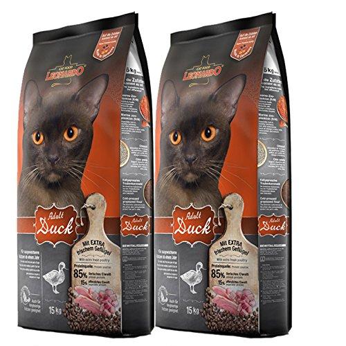 2 x 15 kg Leonardo Adult Duck Premium Katzenfutter mit Ente für Katzen ab 1 Jahr