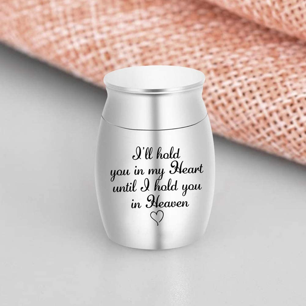 I Will Hold You in My Heart Until I Hold You in Heaven Elibeauty Mini Urn for Pet Human Ashes Memorial Keepsake Urns 25 * 16mm