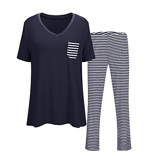 Women's V-Neck Sleepwear Short Sleeves Top with Pants Pajama Set Navy Blue XX-Large (Striped Short Sleeve Pajamas)