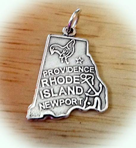 Sterling Silver 22x15mm Rhode Island The Ocean State Charm Vintage Crafting Pendant Jewelry Making Supplies - DIY for Necklace Bracelet Accessories by CharmingSS