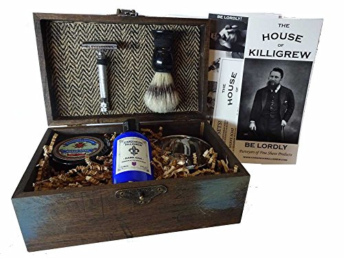 Gentlemen's Vintage Shaving Razor and Brush anniversary gift for men gift kit (Herringbone, The Hunt)
