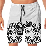 Haixia Man Quick Dry Swim Short Swan Black Swans Couple Swimming in Abstract W