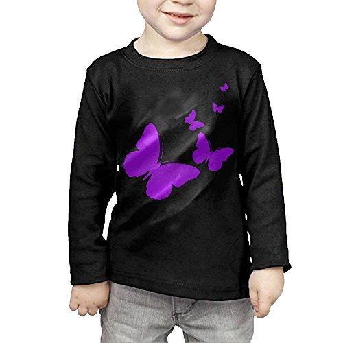 ZheuO Boys & Girls Toddler Butterflies Cozy 100% Cotton Tee Unisex Black 3 - Dress Butterfly Price Monarch