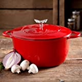 The Pioneer Woman Timeless Beauty 5-Quart Cast Iron Dutch Oven with Stainless Steel Butterfly Knob, Red