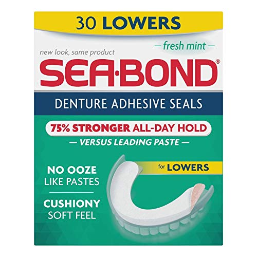 SEA-BOND Denture Adhesive Seals Lowers Fresh Mint, 30 Each (Pack of 6)
