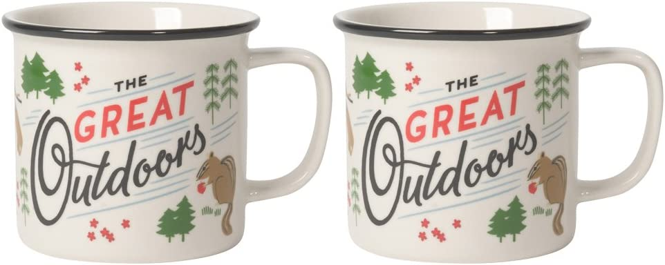 Now Designs Heritage Stoneware Mugs, The Great Outdoors - 14 oz Capacity | Set of 2