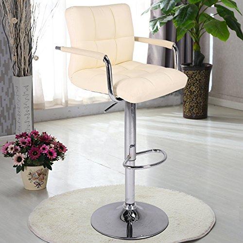 Woltu Modern Swivel Adjustable Barstools With Armrest