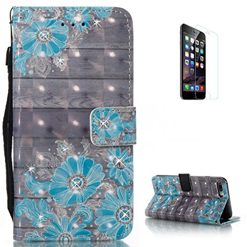 KaseHom iPhone 7 Plus/8 Plus Leather Case + [Free Screen Protector],Blue Daisy Painted Pattern Shiny Glitter Diamond Flip Magnetic Wallet Holster with [Card Slots] Shockproof Protective Cover (Iphone 4 Diamond Sunflower Case)