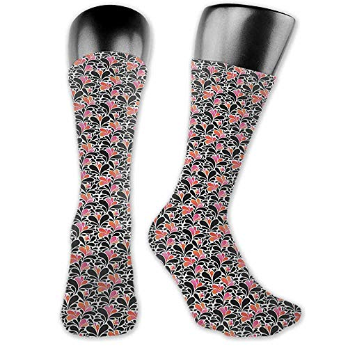 Sock for Male Wedding Birthday Party Gifts Abstract,Paisley Style Pattern of Water Splashes Ombre Motifs with Floral Influences, Coral Pink Black,socks for toddler boys