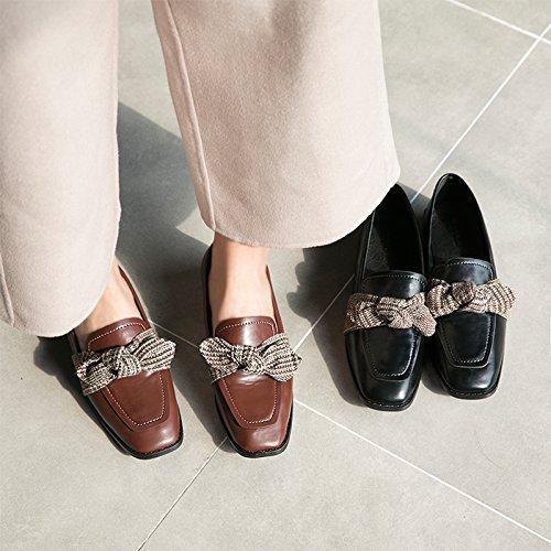 Zapatos De Cuero Bowknot Para Mujer Literatura Zapatos Planos Zapatillas Casual Negro