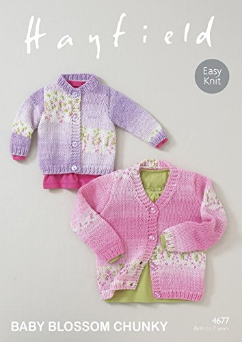 Amazon Hayfield Baby Cardigans Blossom Knitting Pattern 4677