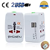 Travel Adapter, International Universal Power Converter Plug, All In One Outlet Charger US to Europe Argentina, Electrical Adaptor 220v with USB for UK USA (usb)