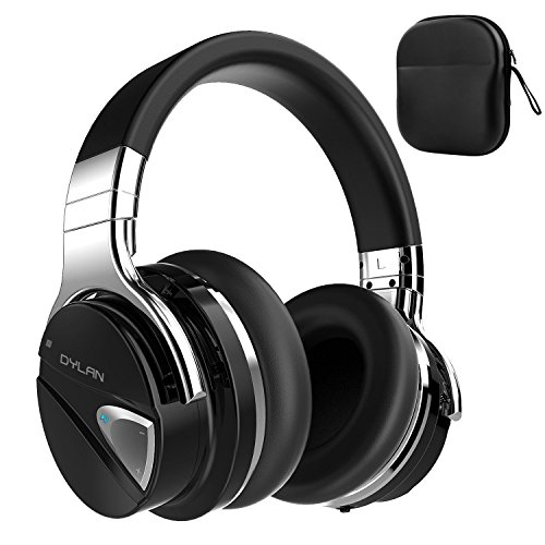 Dylan Active Noise Cancelling Wireless Headphone Bluetooth 4.0 with Mic Hi-Fi Stereo Over-Ear Design Travel Case Included -Black