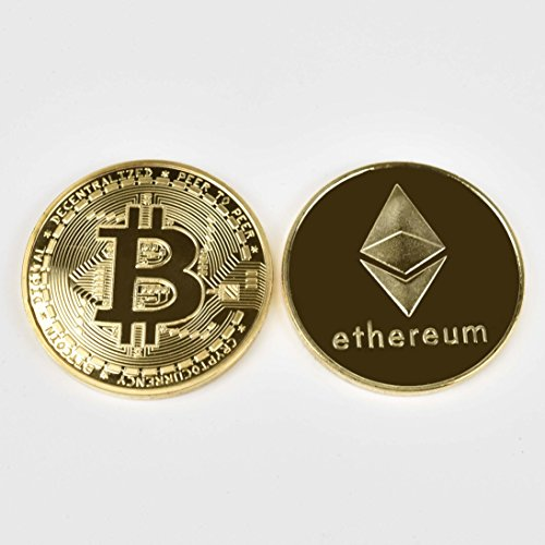 2PCs Gold Plated Bitcoin / Ethereum Coins | Perfect Novelty Gift or Souvenir for Blockchain - Metal Hottest In Men