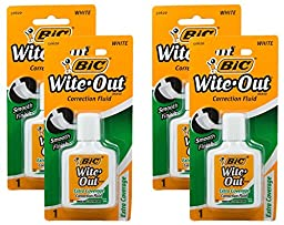 Bic Wite-Out Extra Coverage Correction Fluid-0.7 Ounces 4-PACKS (WOFECP1)