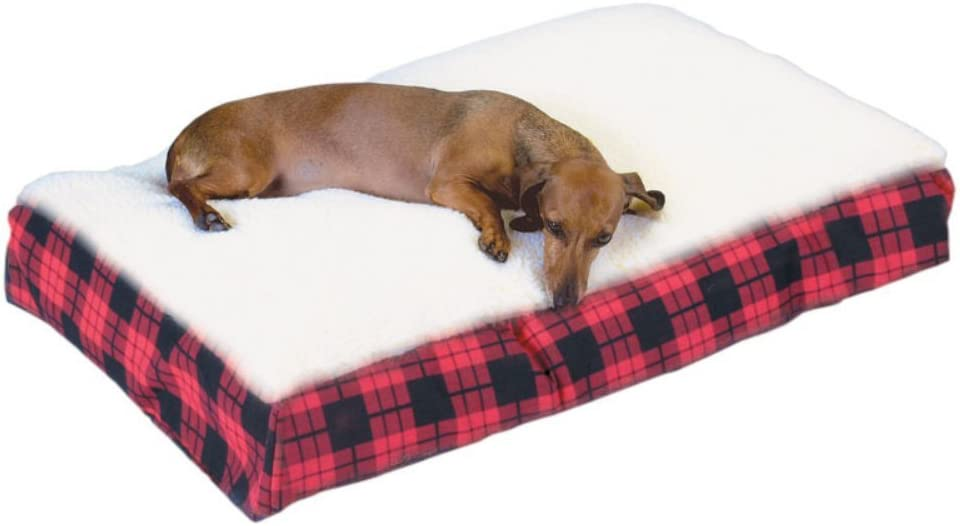 Red Snoozer 92201 Medium Rectangle Pillow Pet Bed Cream Snoozer with Fur