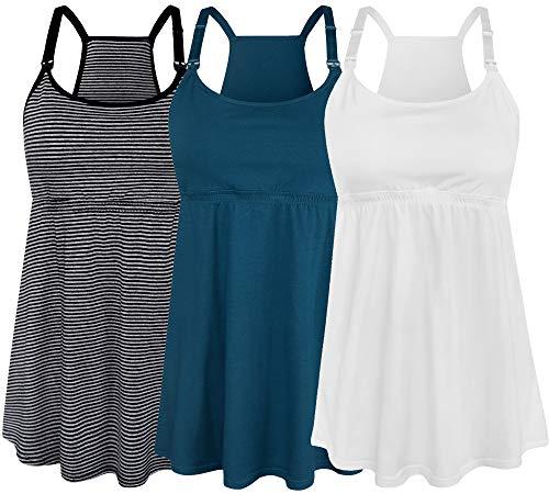 SUIEK Women's Nursing Tank Top Cami Maternity Bra Breastfeeding Shirts (Large, Stripe+Atrovirens+White - Fourth Style)
