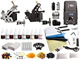 1TattooWorld Tattoo Kit 2 Tattoo Machines, Digital Power Supply, 10 Color 5ml Tattoo inks, Grips, Needles, Transfer Paper etc, OTW-KTB210A