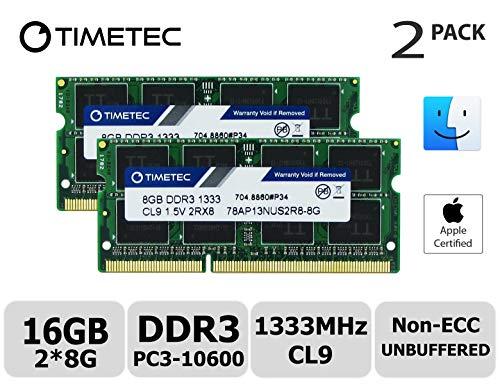 Timetec Hynix IC Apple 16GB Kit (2x8GB) DDR3 1333MHz PC3-10600 SODIMM Memory Upgrade For MacBook Pro 13-inch/15-inch/17-inch Early/Late 2011, iMac 21.5-inch Mid/Late 2011(16GB Kit (2x8GB)) by Timetec (Image #6)