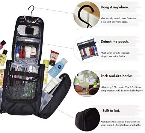 Neceser Extra Grande de Nomalite | Kit de Bolsa de Mano de Colgar, Impermeable XL/Neceser para Hombre y Mujer. Incl. Espejo, Gancho de Metal e Botellas de 100mL en una Funda Transparente