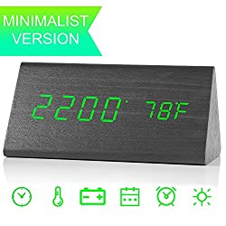 Digital Clock, Wooden LED Alarm Clocks with Triple Alarms, 3 Brightness Levels, Large Digit Green Display Date and Temperature - For Bedside, Bedroom and Office Wood Desk