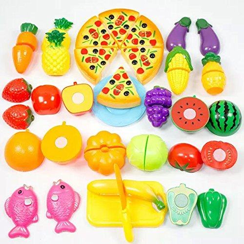 Formula? 24Pcs Plastic Fruit Vegetable Kitchen Cutting Toy Early Development and Education Toy for Baby Kids Children (Kids Development Toys compare prices)