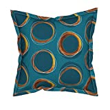 Roostery Solar Linen Cotton Canvas Throw Pillow Cover - Eclipse Mid Century Gold Circles Mia by Mia Valdez - Flanged Cover w Optional Insert